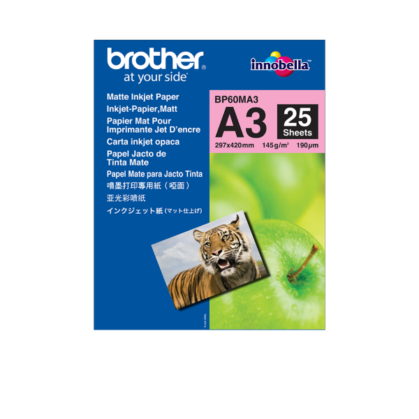 Brother BP60MA3 Matt A3 fotopapper - 25 Ark