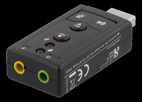 DELTACO USB-ljudkort, 2x3,5mm hona, mic/hörlur, volym