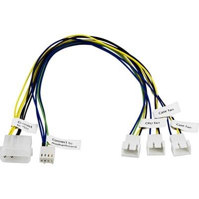 Akasa fläktadapterkabel för att kunna ansluta 1xCPU- & 2xChassie-fläktar till moderkortets 4-pin k