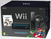 Svart Wii inkl Mario Kart & Wii Wheel från Webhallen.com