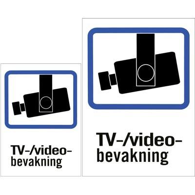 Plastskylt TV/Video-bevakning A4 & A5-storlek