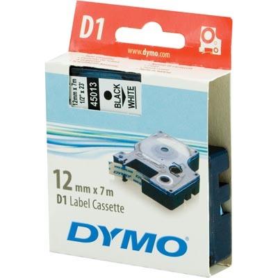 Dymo D1 12mm Svart text/Vit tejp 7m