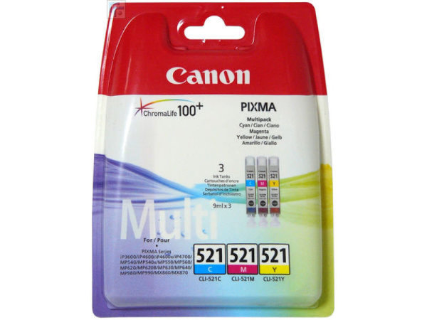 CANON Multi Pack Incl. C/M/Y Ink Cartridges CLI-521