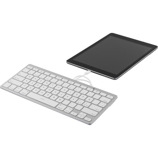 Deltaco lightning-tangentbord för iOS-enheter MFi 0.4m nordisk layout vit/silver