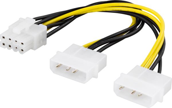 Deltaco adapterkabel, 2xMolex 4-pin till 8-pin PCI-Express, 30 cm