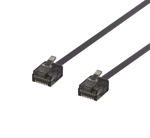 Deltaco UTP Cat6a Nätverkskabel Flat / 5m - Svart