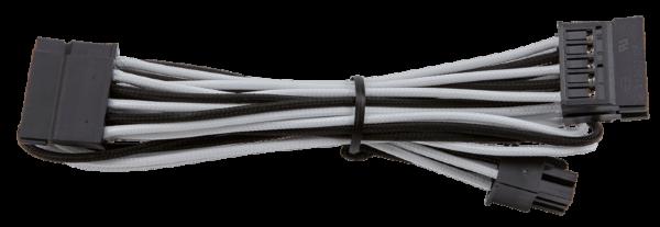 Corsair Individually Sleeved SATA cable Dual / RMi RMx – Svart/Vit