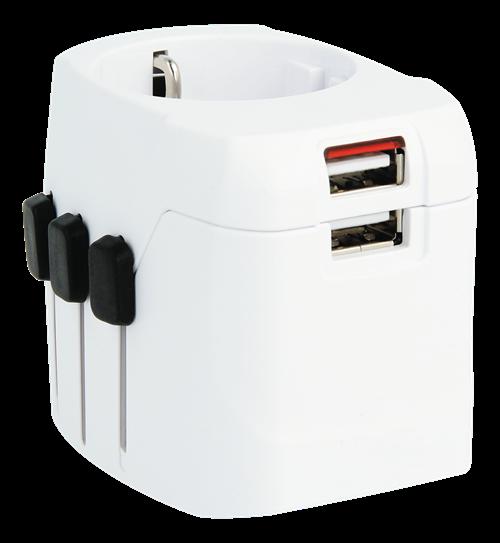 SKross World Adapter Pro Light w/USB, reseadapter, 2-/3-stifts kontakt, Schuko, 2xUSB, 5V 2,4A, vit