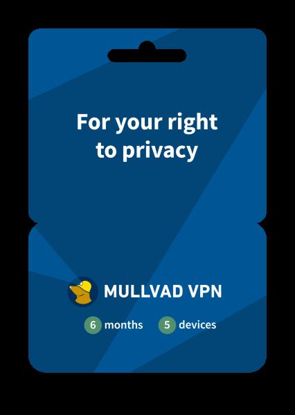 Mullvad VPN 6 månader / 3 användare - i samarbete med ESET