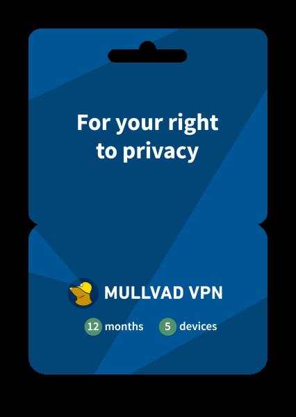 Mullvad VPN 12 månader / 3 användare - i samarbete med ESET