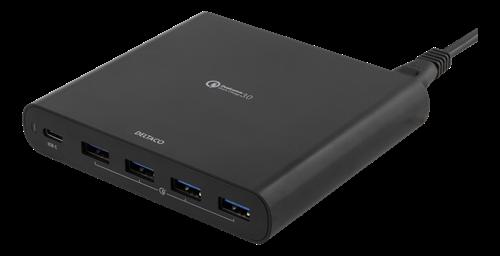 DELTACO USB-C laptop laddare, 80W, 4x QC 3.0-portar, 1,5m kabel, USB-A 3A, svart