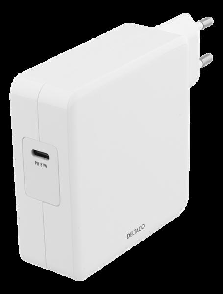 Deltaco USB-C PD laddare 87W - Vit