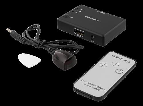 DELTACO HDMI-Switch 3 ingångar till 1 utgång 4K 60Hz (Fyndvara - Klass 1)
