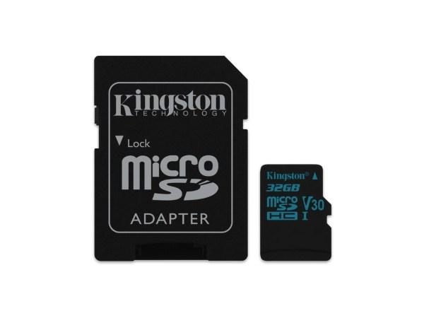 Kingston microSDHC Canvas GO! - 32GB / Class10 / UHS-1 / 90MB/s / Adapter