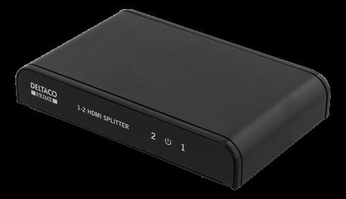 DELTACO PRIME HDMI-splitter, 1 enhet till 2 skärmar, HDMI 2.0, 4Kt (Fyndvara klass 1)