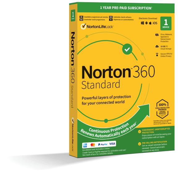 Norton 360 Standard - 10GB Lagring / VPN / 1 år / 1 användare