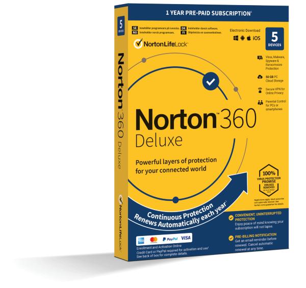 Norton 360 Deluxe - 50GB Lagring / VPN / 1 år / 5 användare