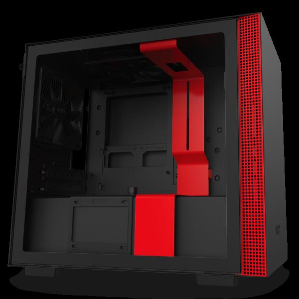NZXT H210 / Tempered Glass - Svart/Röd
