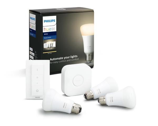 Philips Hue White E27 BT – Startkit / 3-pack + Dimswitch