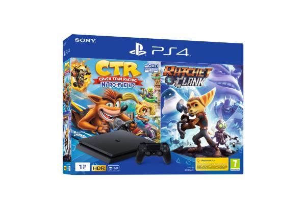 Playstation 4 Konsol (PS4) 1TB Slim - Crash Team Racing + Ratchet & Clank Bundle
