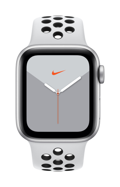 Apple Watch Nike Series 5 GPS + Cellular, 40mm Silver Aluminium Case with Pure Platinum/Black Nike S