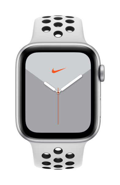 Apple Watch Nike Series 5 GPS + Cellular, 44mm Silver Aluminium Case with Pure Platinum/Black Nike S