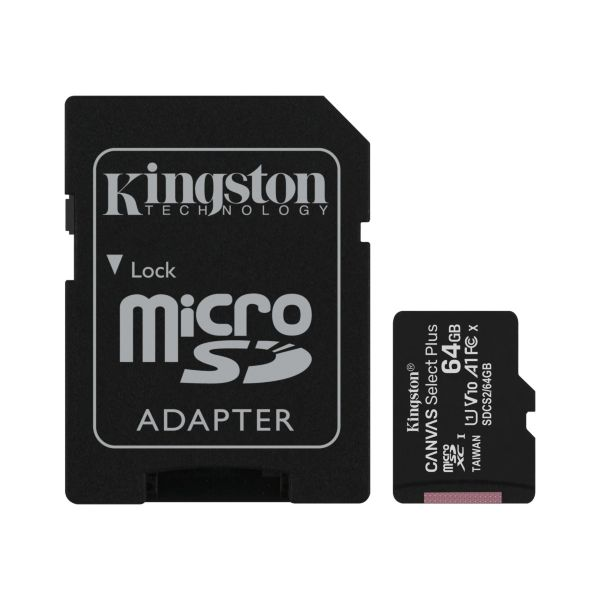 Kingston microSDXC Canvas Select Plus – 64GB / Class 10 / UHS-1 / Adapter