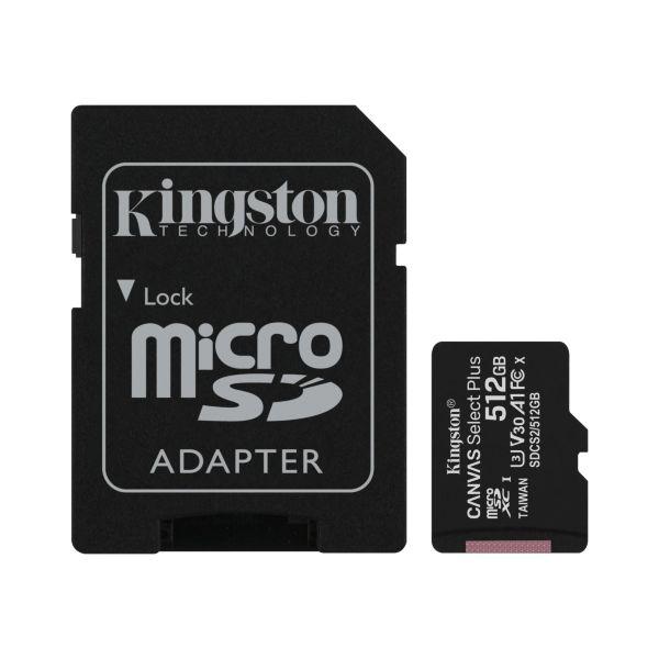 Kingston microSDXC Canvas Select Plus – 512GB / Class 10 / UHS-1 / Adapter