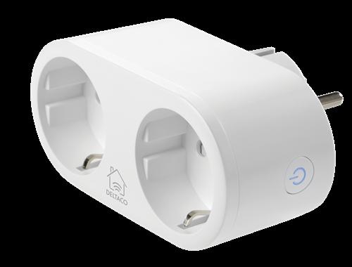 Deltaco WiFi Smart Plug 2 Way Outlet / Energiövervakning / 10A