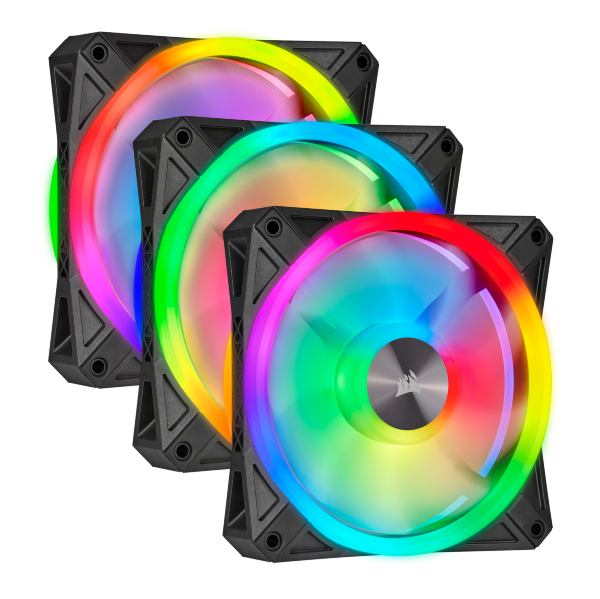 Corsair QL120 / iCUE-RGB / PWM / 120mm / Svart / 3-pack - Startkit