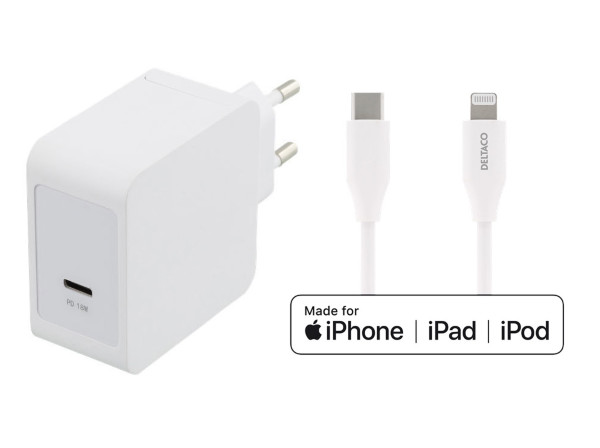 Deltaco 18W USB-C Fast Charger *White Bundle*
