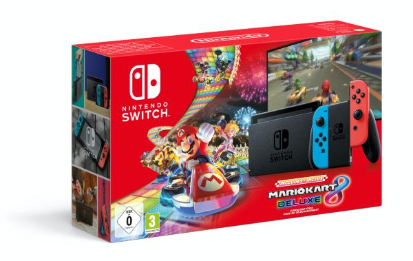 Nintendo Switch 2019 Konsol Blue / Red Mario Kart Bundle