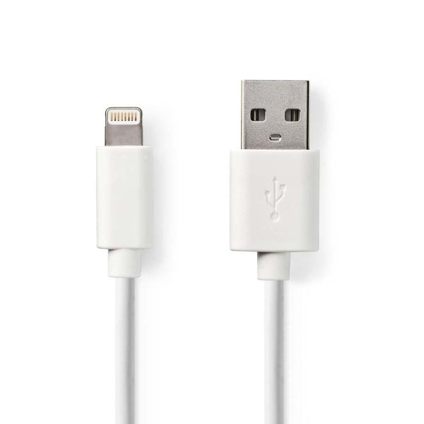 Nedis Synk och Laddningskabel Apple Lightning – USB A hane 2m – Vit