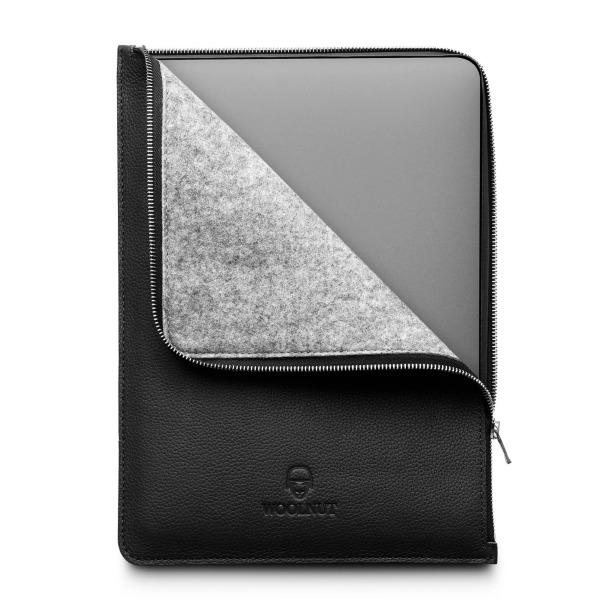 Woolnut MacBook Pro & Air 13 tum (Nya Modellen) Leatherfolio - Svart