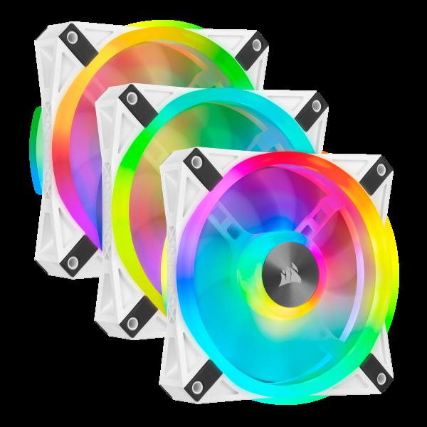 Corsair QL120 / iCUE-RGB / PWM / 120mm / Vit / 3-pack - Startkit
