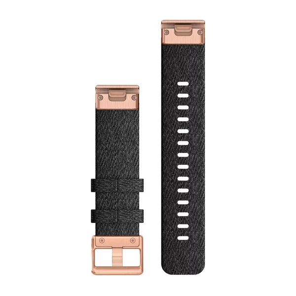 Garmin QuickFit 20 Small Nylon Band – Heathered Black with Rose Gold