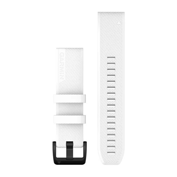Garmin QuickFit 22 Silicone Band – White with Stainless Steel