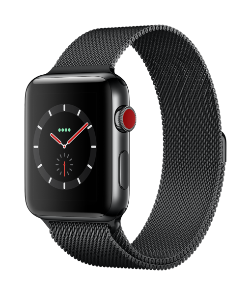 Apple Watch Series 3 GPS + Cellular, 42mm Space Black Stainless Steel Case with Black Milanese Loop