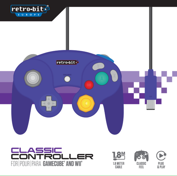 Retro-Bit Gamecube Classic Controller Purple (Fyndvara – Klass 1)