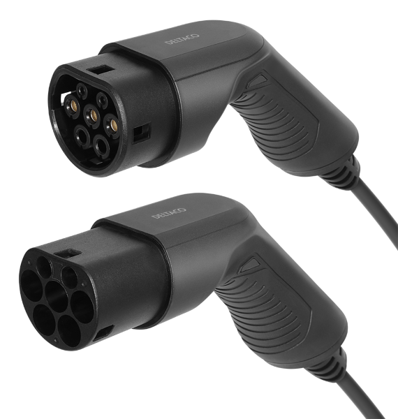 DELTACO e-Charge laddkabel, typ 2 till typ 2, 1 fas, 16A, 3,6KW, 7m