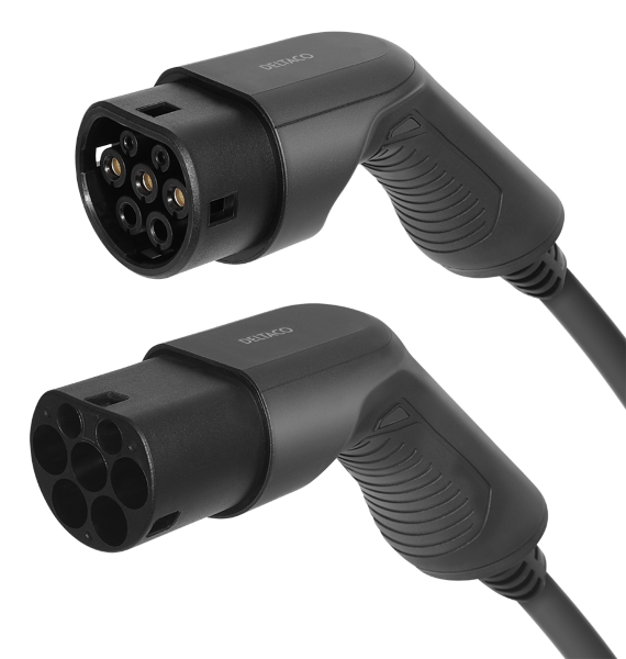 DELTACO e-Charge laddkabel, typ 2 till typ 2, 1 fas, 32A, 7,6KW, 5m