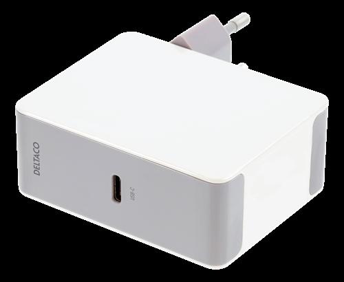 Deltaco USB-C PD laddare 45W – Vit (Fyndvara – Klass 3 – Ingen Kartong)