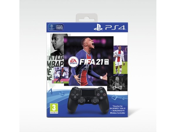 Playstation 4 Handkontroll Dual Shock Svart Fifa 21 bundle