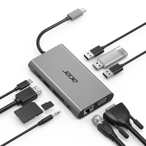 Acer Hubb / 10 Portar / USB-C - Silver