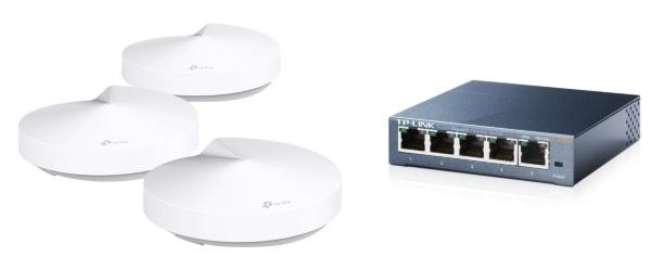 TP-Link Deco M5 3-pack + TP-Link TL-SG105 Bundle