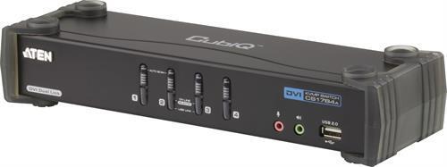 ATEN CubiQ KVM-switch, 1 konsol styr 4 datorer, DVI Dual Link / 7.1-ljud / 2-ports USB-hubb / Svart