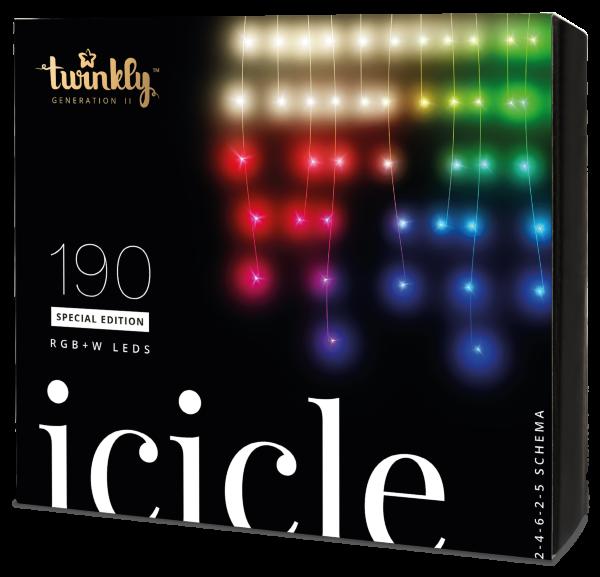 Twinkly Icicle Special Edition 190 RGB + W LEDs - Generation II(Kartongskada)