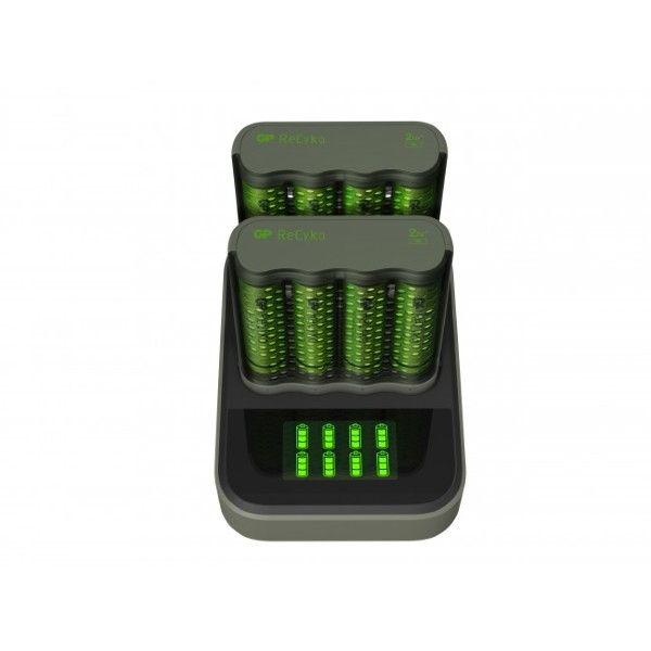 GP ReCyko 2st Speed-batteriladdare M451 (USB) med laddningsdocka D851, 8 kanaler inkl. 8st AA 2600mA