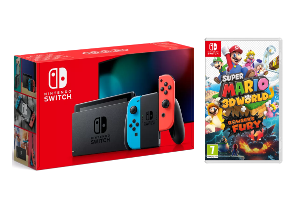 Nintendo Switch 2019 Konsol Blue / Red + Super Mario 3D World + Bowser's Fury
