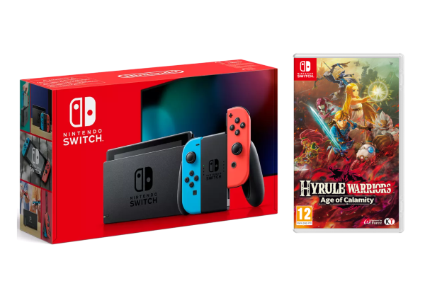 Nintendo Switch 2019 Konsol Blue / Red + Hyrule Warriors: Age of Calamity